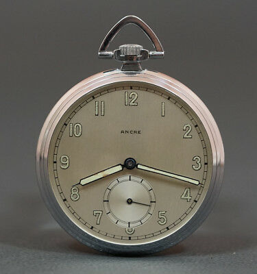 Wwii Nos Mint Ancre Swiss 15J. Slim Men's Pocket Watch Military Luminous Hands