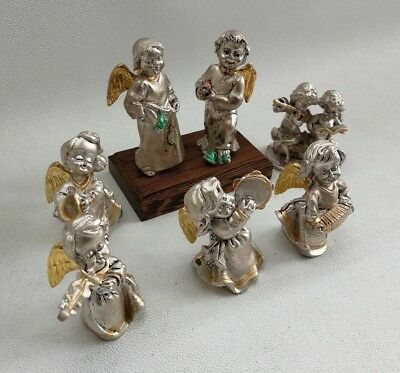 Vintage Solid Silver Filled Cherubs Angels Ornament Models Musical Cherub Figure