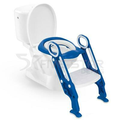 Baby Blue Toddler Kids Safety Potty Training Toilet Step Ladder Loo Seat Trainer