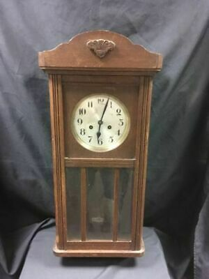 Antique CLOCK Wall mounted pendulum heavy oak glass case German Thalle - (6639)
