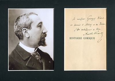 Anatole France NOBEL PRIZE autograph, handwritten note signed