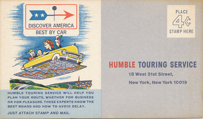 Humble Touring Service Esso Gas 1950s Trip Planning Post Card  Tony Tiger