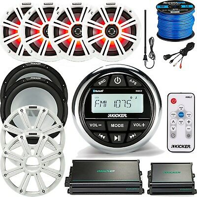 "Marine Receiver, 4 x 6.5"" LED Speakers, 2 x 10"" Subwoofers, 4Channel Amp Bundle"