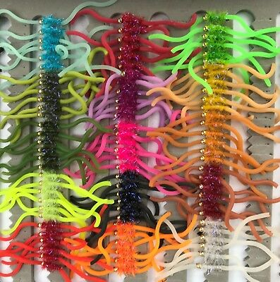 Squirmy Worms Trout Flies Lures Multiple Options Choose Colour and Size Style 2