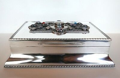 Sterling Silver Jeweled Humidor, (1908) English Arts & Crafts, George H. Cowell