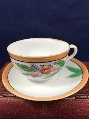 Hand Painted Vintage Lusterware Cup And Saucer Made In Japan Flower Leaves