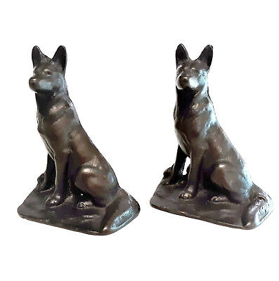 A Vintage Classic ◆ German Shepherd K9 Dog Matched Pair of Cast Iron BOOKENDS