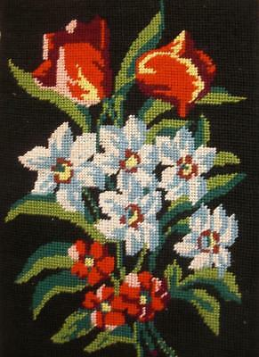 "Vintage completed cotton needlepoint tapestry flowers on black 12""x8.2"""