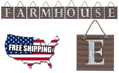 Farmhouse Galvanized Metal Letter Tile Wall Sign, Country Home Decor