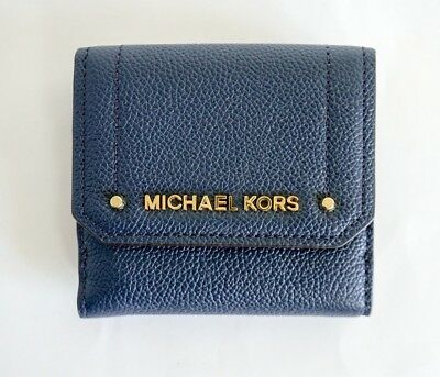 a41cb9b91ed4 NWT Michael Kors Hayes Medium Trifold Coin Case Leather Wallet Navy Blue