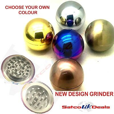 2 PART 50mm BALL METAL HERB GRINDER Crusher Tobacco Shark Teeth UK