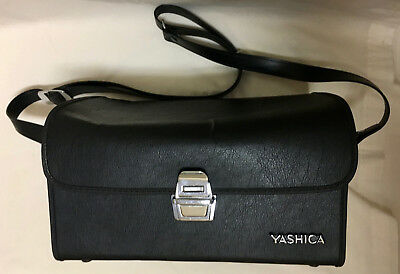 Vintage Yashica Camera Case Black Red Interior Shoulder Strap Silver Tone Detail