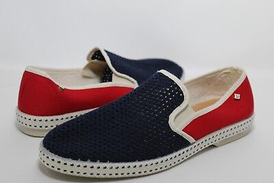 NWOB RIVIERAS Mens France Casual Red/Blue/White Mesh/Canvas Slip On Shoes