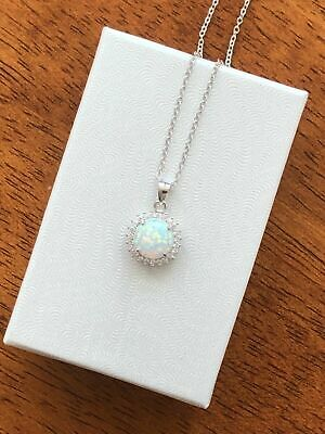 Sterling Silver 925 Cz White Opal Solitaire Pendant Necklace 9.5mm