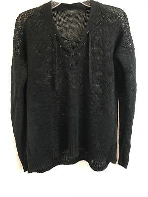 38075dd57c J Crew Womens Linen Lace-up Beach Pullover Sweater Long Sleeve Black Size L