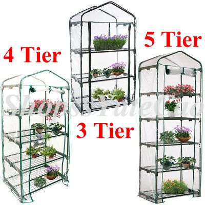 3-5 Tier MINI Walk In Greenhouse 6 Shelves PE Cover Plant Garden Green House
