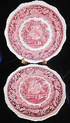 Mason's Vista Pink Ironstone Dinner Plates - Diff. Sizes 10 & 10.75 in. Set of 2