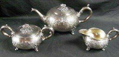 Antique 3 Pc Sheffield Hand Chased Floral Tea Set Silver Plate Cream & Sugar