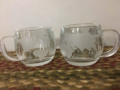 Set of 2 Vintage NESTLE Nescafe World Globe Frosted Coffee Mugs Cups
