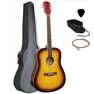 """NEW 41"""" Full Size Dreadnought Acoustic Guitar - Tobaccoburst with Nylon Gig Bag"""