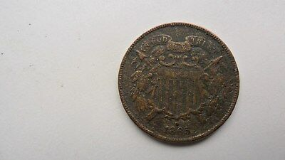1865 2 cent coin, looks to have been buried,WE is Visible