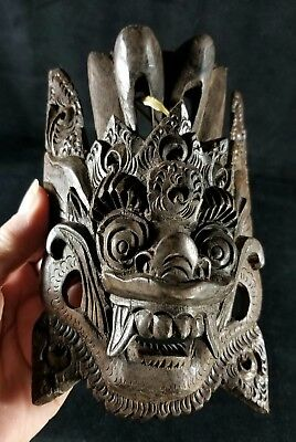 Vintage Ebony Indonesian Bali  Small Demon Mask For Protection EXC