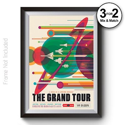 Space Travel Poster The Grand Tour NASA - Visions of the Future Tourism Artwork