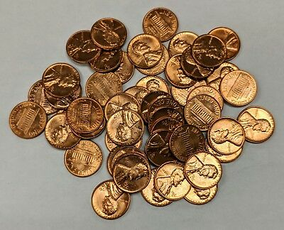1961-D Lincoln Cent Memorial Penny Roll of 50 Nice Bright RED Coins BU in Tube