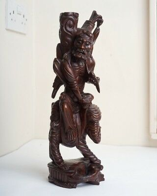 Chinese Carved Hardwood Figure Of An Emaciated Luohan Riding an Elephant 騎象羅漢