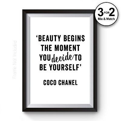 Beauty Quote Print - Coco Chanel 'You Decide' Giclee Fashion Quote Wall Art