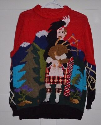 Berek Marta D Scottish Bagpiper Castle Hand Knit Sweater Size M Uruguay 1989 Vtg