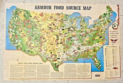 Vintage 1960 ARMOUR FOOD SOURCE MAP Armour & Co. Chicago USA Food Production