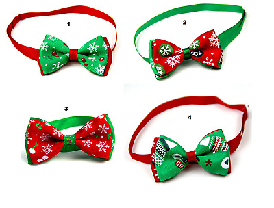 Xmas Small Pet Adjustable Christmas Neck Bow Tie For Cat Kitten Puppy Dog