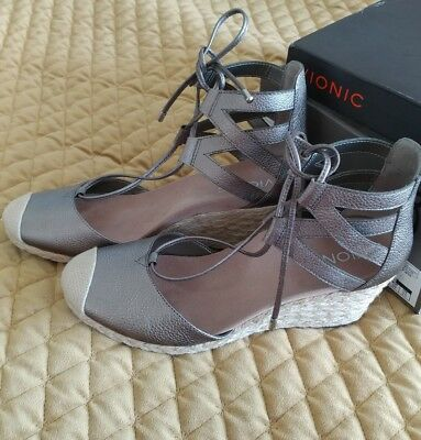 1a4e0d97fbd NEW VIONIC CALYPSO Espadrille Wedge Women's 9 Pewter Silver Leather ...