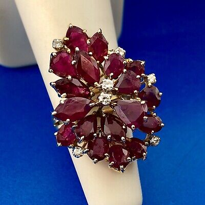 Exquisite Vintage 14K Yellow Gold Ruby Diamond Cluster Statement Cocktail Ring