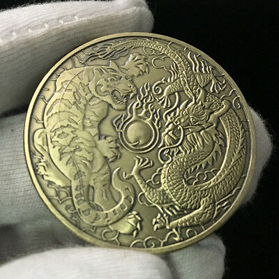 Chinese style Dragon and Tiger Battle Commemorative coin Zodiac Tiger head coin