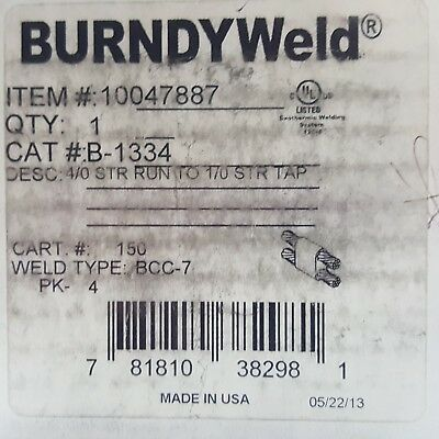 New Burndy B-1334 Exothermic Mold To Join 4/0 Str Run To Str 1/0 Tap, 10047887