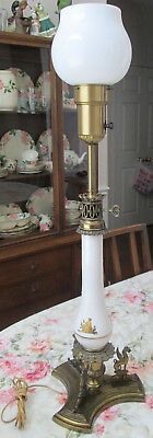 Mid Century Modern Ornate End Table Lamp W Brass Appointments, Winged Creatures