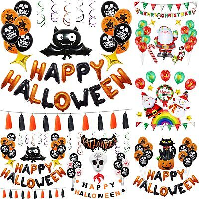 Happy Halloween Balloons Set Bat Tassel Hanging Decoration Party Favors