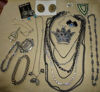 Lot of Vintage Jewelry Brooches Pins Earrings Necklaces Monocraft Rhinestone