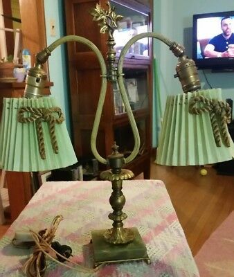 Vintage 2 Arm Adjustable Double Gooseneck Table Lamp Brass Marble