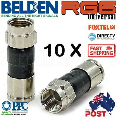 RG6 Coax Cable Compression Connector F TYPE Approved NBN TELSTRA FOXTEL x10 PCT