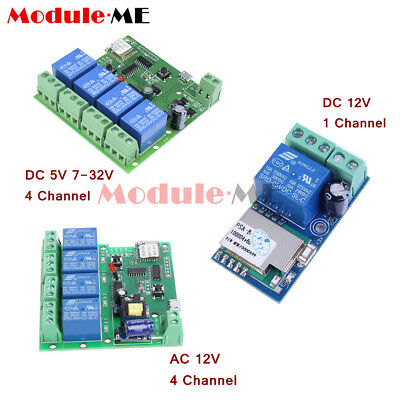 DC/AC 5V/12V/220V 1/4 Channel WiFi Wireless Relay Delay Switch Control For Home
