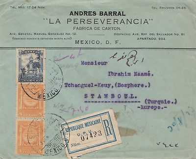 Mexico 1927: Registered letter to Istanbul