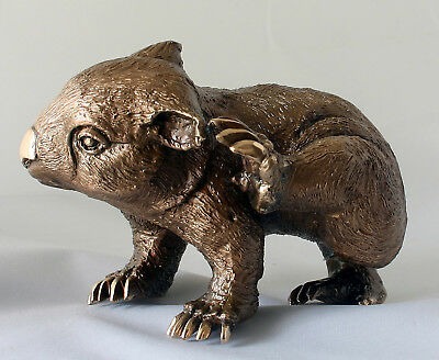 WOMBAT SCRATCHING  Art Wildlife Statue Foundry Cast Bronze Signed By Artist