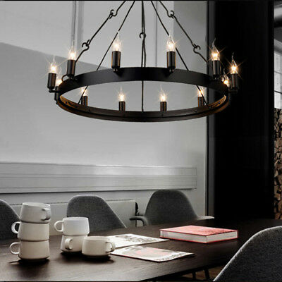 Antique Wrought Iron Chandelier Industrial Country Style Suspension Pendant Lamp
