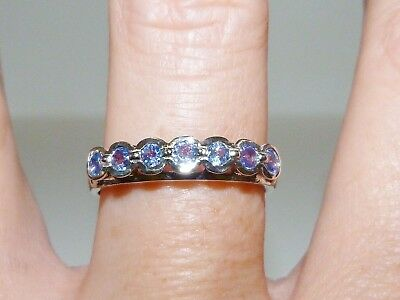 GORGEOUS! RARE 0.63cts! Tanzanite Round Cut Ring Solid Sterling Silver 925!!
