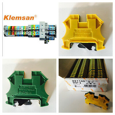 Din rail earth terminals connectors 6mm yellow/green.  KLEMSAN WGT SERIES