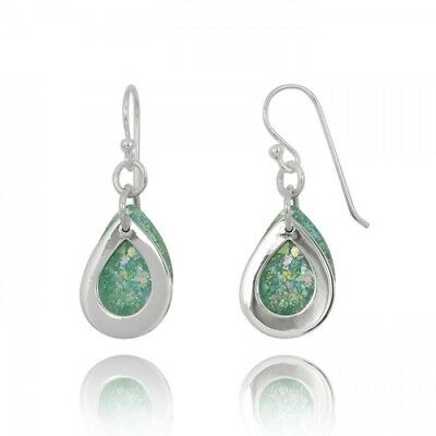 Handmade Teardrop Earrings 925 Sterling Silver With Ancient Roman Glass Original