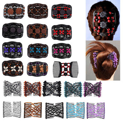 Women Magic Elastic Beads Double Hair Comb Clip Strong Hairpin 26 Styles AU